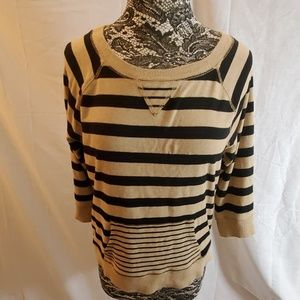 Jones New York Black and Tan Stripped Top Size PL